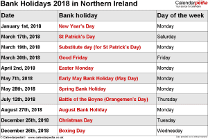 Bank Holidays 2018 Northern Ireland