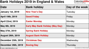 Bank Holidays 2019 England & Wales