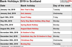 bank holidays 2019 scotland