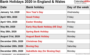 Bank Holidays 2020 England & Wales