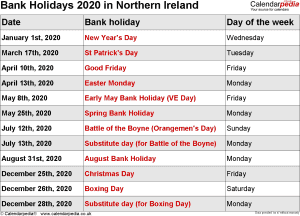 Bank Holidays 2020 Northern Ireland