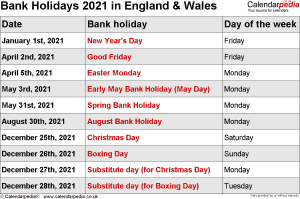 Bank Holidays 2021 England & Wales