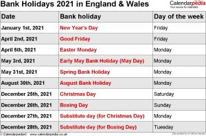 Bank Holidays 2021 England & Wales