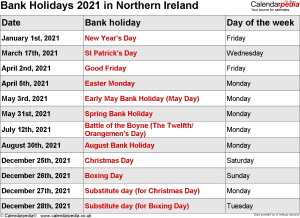 Bank Holidays 2021 Northern Ireland