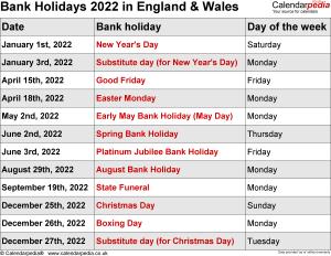 Bank Holidays 2022 England & Wales