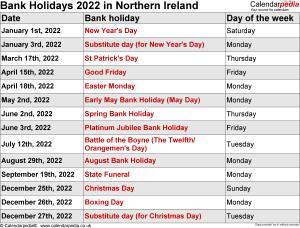 Bank Holidays 2022 Northern Ireland