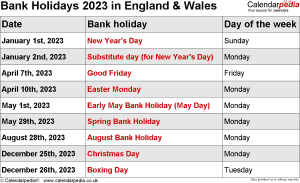 Bank Holidays 2023 England & Wales