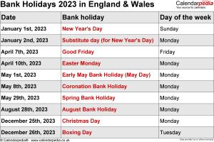 Bank Holidays 2023 England & Wales