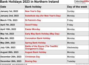Bank Holidays 2023 Northern Ireland