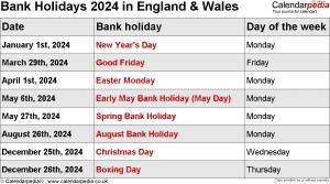 Bank Holidays 2024 England & Wales