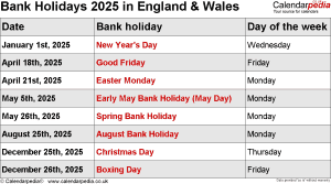 Bank Holidays 2025 England & Wales