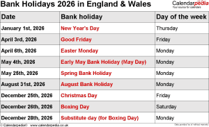 Bank Holidays 2026 England & Wales