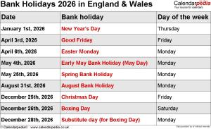 Bank Holidays 2026 England & Wales