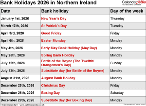 Bank Holidays 2026 Northern Ireland