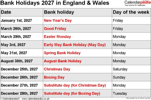 Bank Holidays 2027 England & Wales