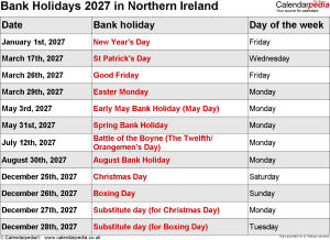 Bank Holidays 2027 Northern Ireland