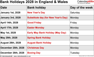 Bank Holidays 2028 England & Wales
