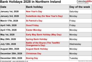 Bank Holidays 2028 Northern Ireland