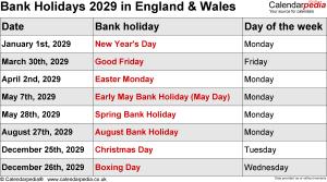 Bank Holidays 2029 England & Wales