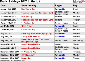 Bank Holidays 2017 in the UK for Word
