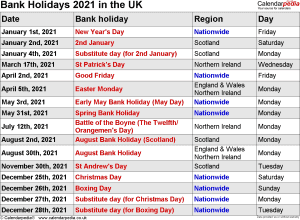 UK Bank Holidays 2021