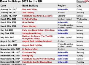 UK Bank Holidays 2027