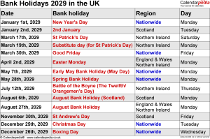 UK Bank Holidays 2029