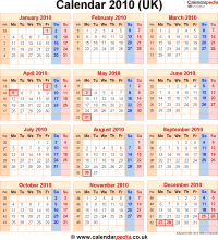 Download calendar 2010 (UK edition) as PNG file