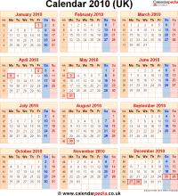 Download calendar 2010 (UK edition) as PNG file