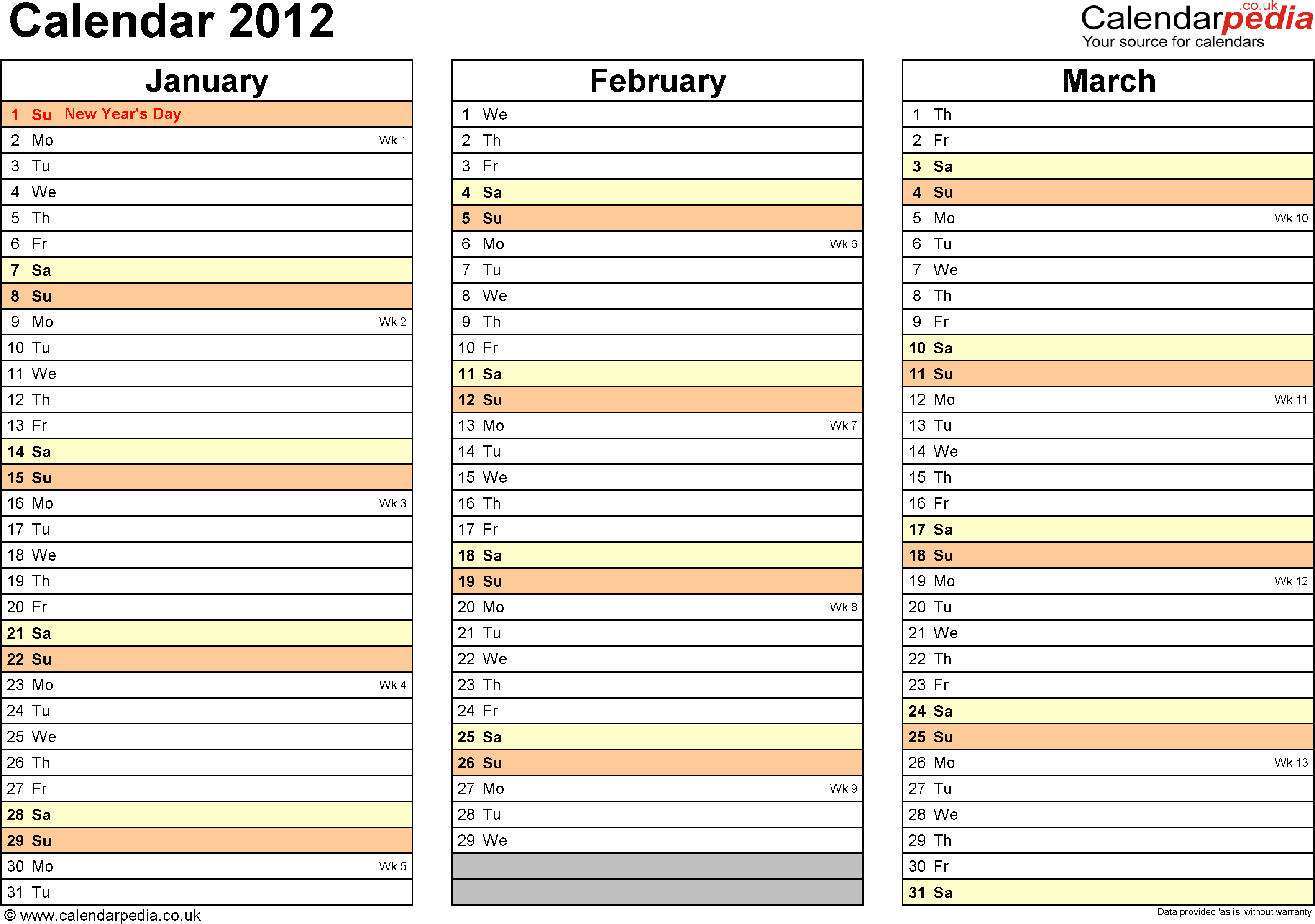 Template 6: Yearly calendar 2012 as Excel template, landscape orientation, 4 pages, months horizontally, days vertically, with UK bank holidays and week numbers