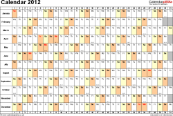 Template 3: Yearly calendar 2012 as Excel template, landscape orientation, 1 page, days horizontally, months vertically, with UK bank holidays and week numbers