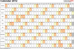 Template 3: Yearly calendar 2012 as PDF template, landscape orientation, 1 page, days horizontally, months vertically, with UK bank holidays and week numbers