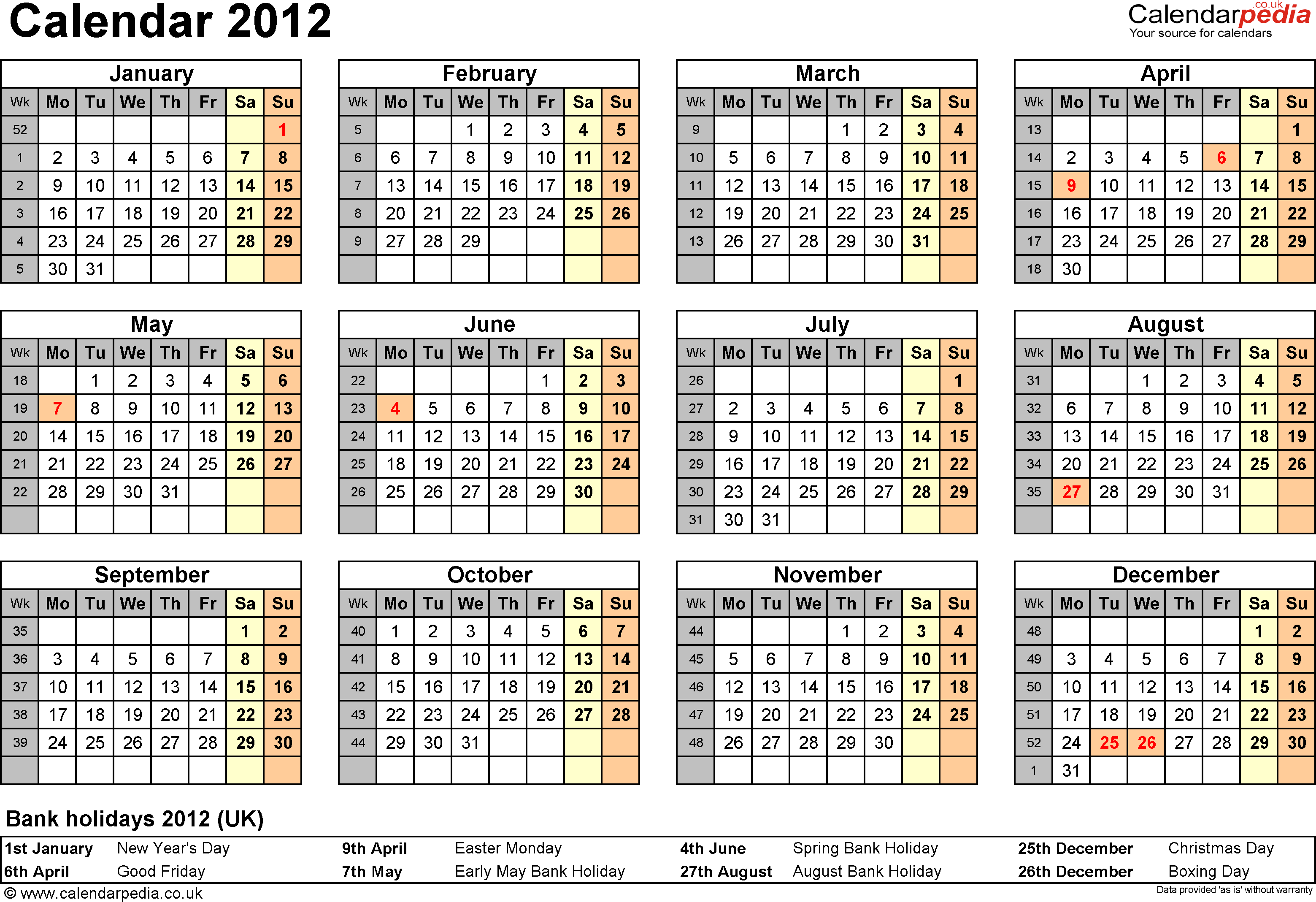 Template 7: Yearly calendar 2012 as PDF template, year overview, 1 page