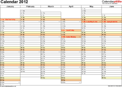 Download Template 5: Yearly calendar 2012 as PDF template, landscape orientation, A4, 2 pages, months horizontally, days vertically, days of the week in line, with UK bank holidays and week numbers