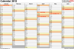 Template 4: Yearly calendar 2012 as Excel template, landscape orientation, 2 pages, months horizontally, days vertically, with UK bank holidays and week numbers