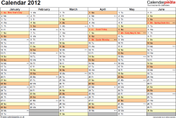 Template 4: Yearly calendar 2012 as PDF template, landscape orientation, 2 pages, months horizontally, days vertically, with UK bank holidays and week numbers