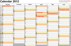 Download Template 4: Yearly calendar 2012 as Word template, landscape orientation, 2 pages, months horizontally, days vertically, with UK bank holidays and week numbers
