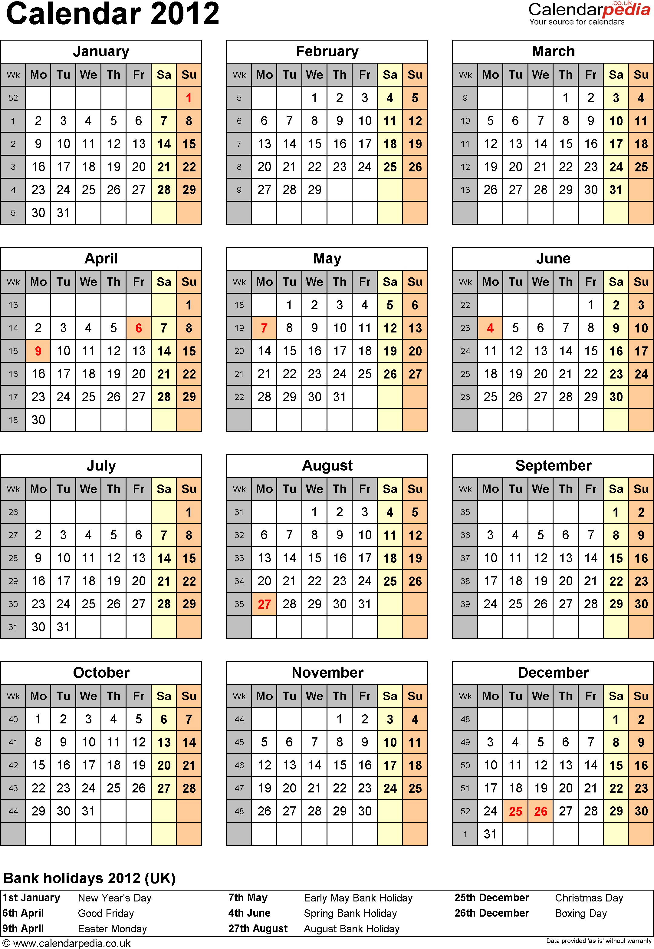 Template 11: Yearly calendar 2012 as Excel template, portrait orientation, one A4 page