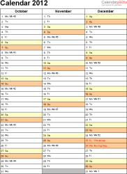 Download Template 10: Yearly calendar 2012 as Word template, portrait orientation, 4 pages, with UK bank holidays and week numbers