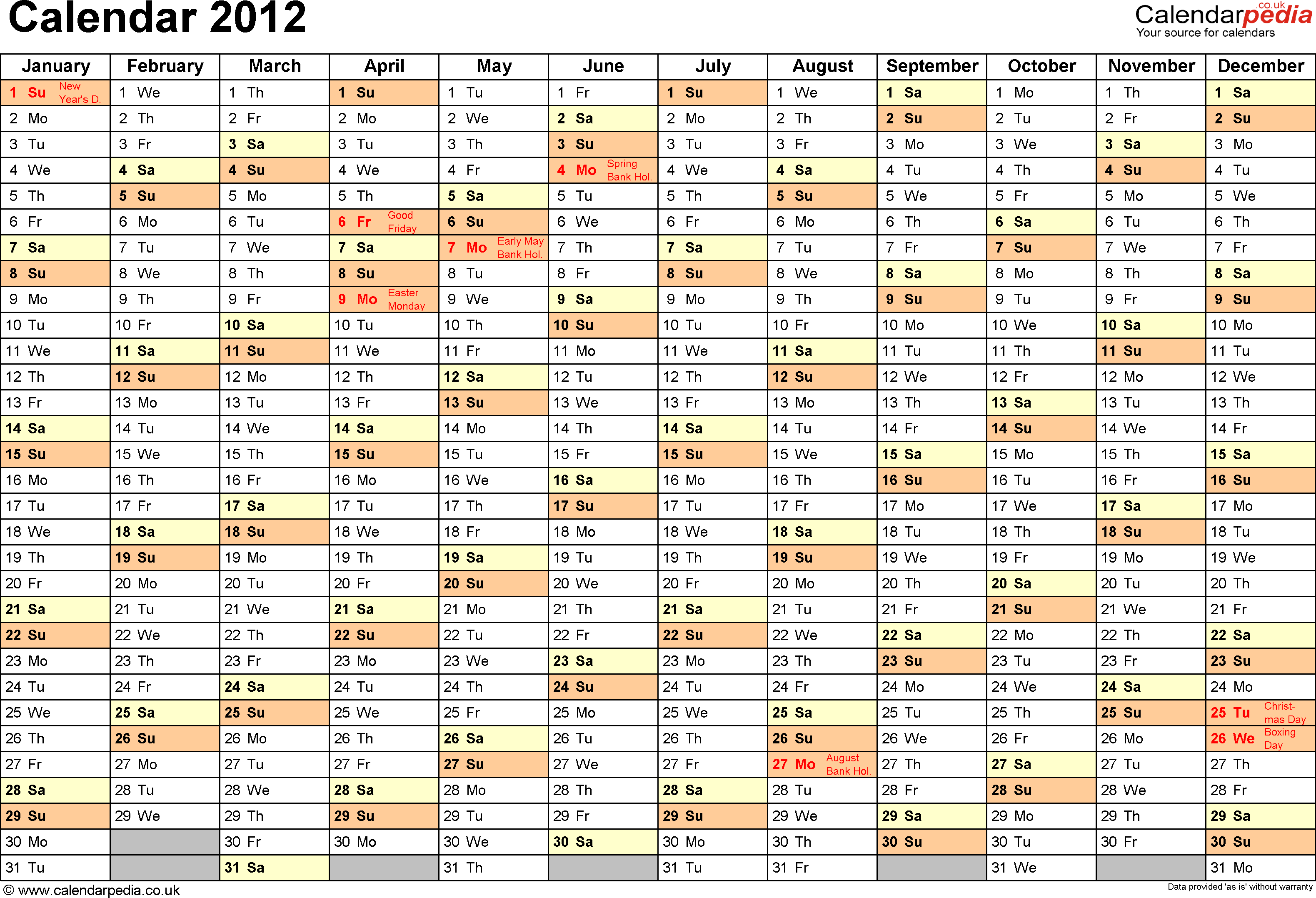 Download Template 2: Yearly calendar 2012 as PDF template, landscape orientation, A4, 1 page, months horizontally, days vertically, with UK bank holidays and week numbers