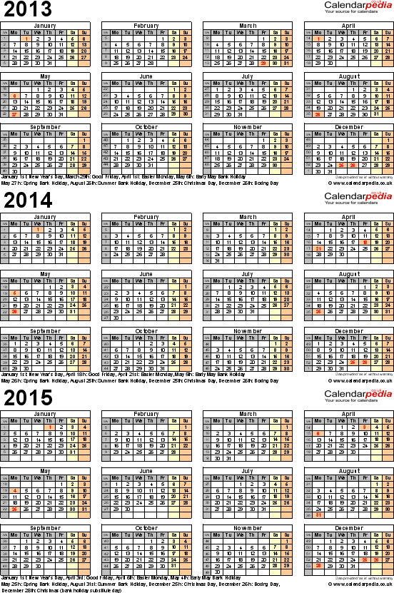 Download Template 5: Three year calendar 2013/14/15 for Excel in landscape orientation.