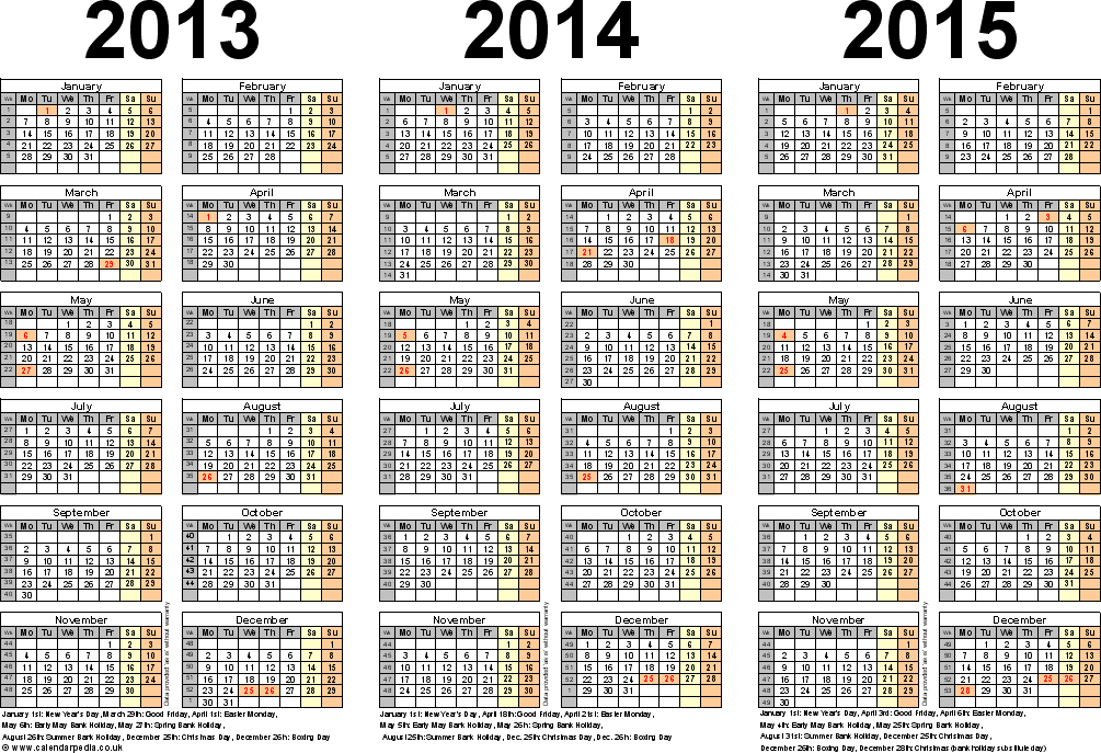 Template 5: Excel template for three year calendar 2013/2014/2015 (landscape orientation, 1 page, A4)