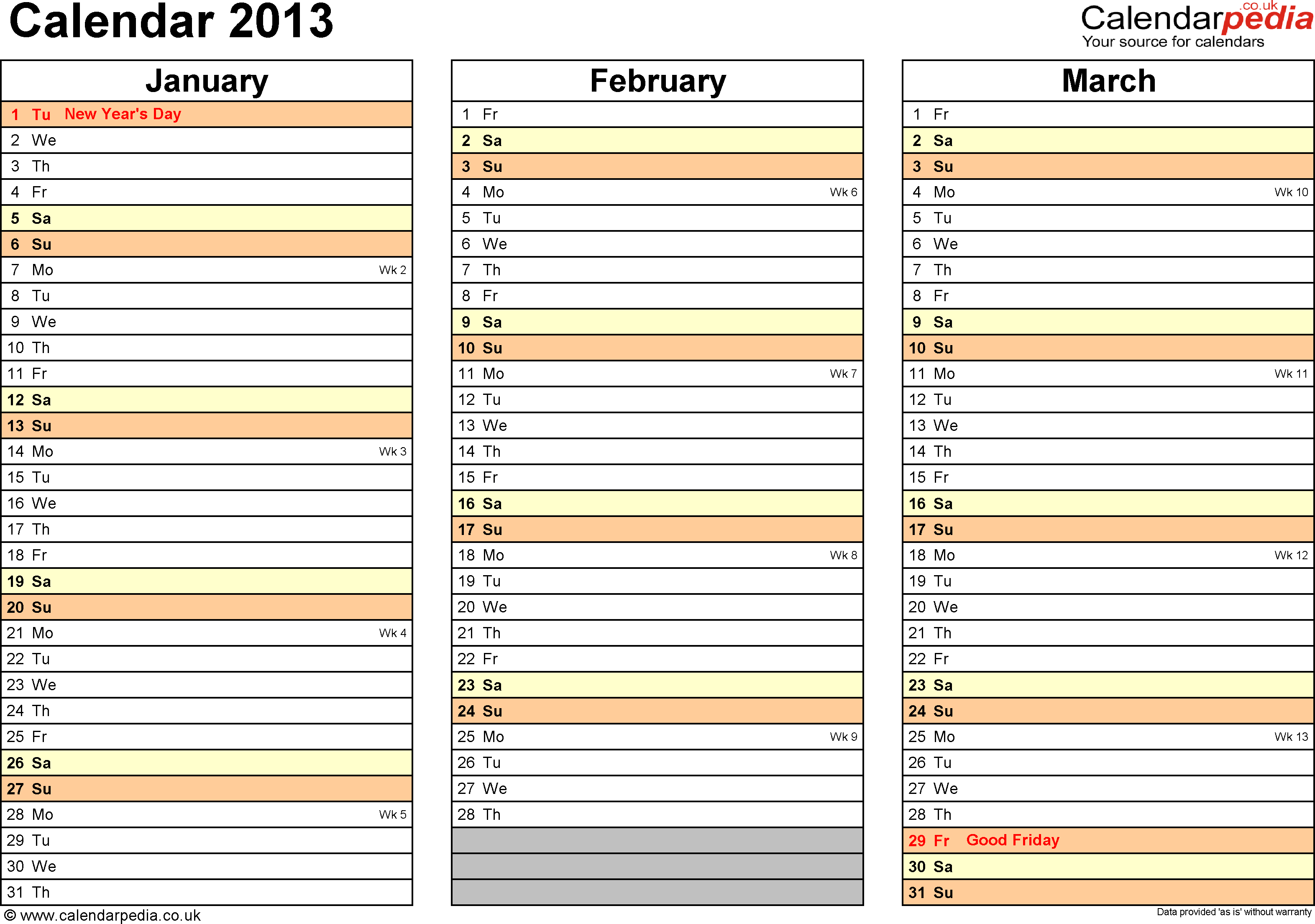 Template 6: Yearly calendar 2013 as Excel template, landscape orientation, 4 pages, months horizontally, days vertically, with UK bank holidays and week numbers