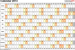 Template 3: Yearly calendar 2013 as Excel template, landscape orientation, 1 page, days horizontally, months vertically, with UK bank holidays and week numbers