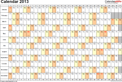 Download Template 3: Yearly calendar 2013 as PDF template, landscape orientation, 1 page, days horizontally, months vertically, with UK bank holidays and week numbers