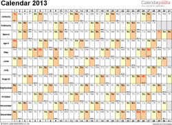 Template 3: Yearly calendar 2013 as Word template, landscape orientation, 1 page, days horizontally, months vertically, with UK bank holidays and week numbers