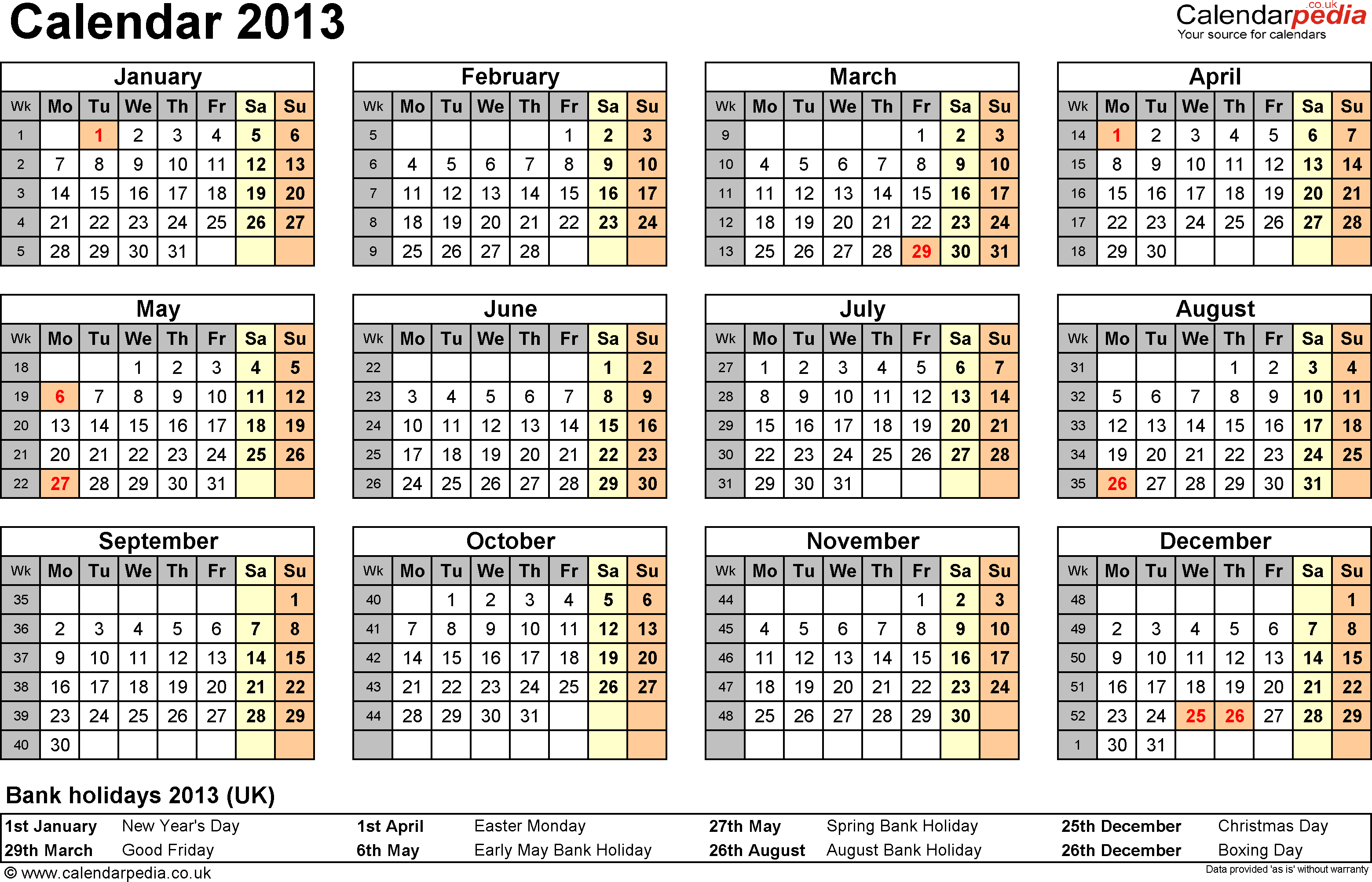 Template 7: Yearly calendar 2013 as PDF template, year overview, 1 page