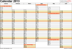 Template 5: Yearly calendar 2013 as Word template, landscape orientation, A4, 2 pages, months horizontally, days vertically, days of the week in line, with UK bank holidays and week numbers