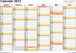 Download Template 4: Yearly calendar 2013 as Word template, landscape orientation, 2 pages, months horizontally, days vertically, with UK bank holidays and week numbers