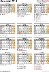 Template 12: Yearly calendar 2013 as Excel template, portrait orientation, one A4 page, with list of notable days